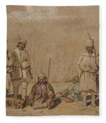 Soldiers Relaxing, 1844 Wc & Gouache On Paper Fleece Blanket