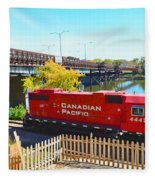 Solo Red Canadian Pacific Engine Along Rock River In Rockford Fleece Blanket