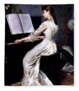 Song Without Words, Piano Player, 1880 Fleece Blanket
