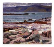 Sound Of Iona  The Burg From The North Shore Fleece Blanket