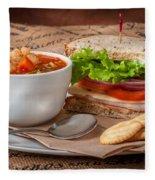 Soup And Sandwich Fleece Blanket