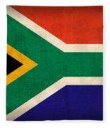 South Africa Flag Vintage Distressed Finish Fleece Blanket