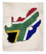 South Africa Map Art With Flag Design Fleece Blanket