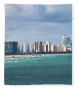 South Beach On A Summer Day Fleece Blanket