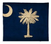 South Carolina State Flag Art On Worn Canvas Fleece Blanket