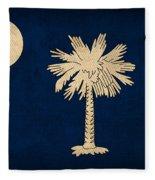 South Carolina State Flag Art On Worn Canvas Fleece Blanket