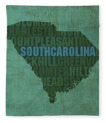 South Carolina Word Art State Map On Canvas Fleece Blanket by Design Turnpike