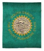 South Dakota State Flag Art On Worn Canvas Fleece Blanket
