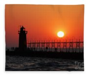 South Haven Lighthouse At Sunset 1 Fleece Blanket