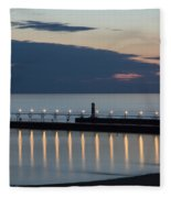 South Haven Michigan Lighthouse Fleece Blanket
