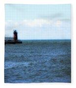 South Haven South Pierhead Light Fleece Blanket