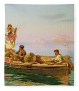 South Italian Fishing Scene Fleece Blanket