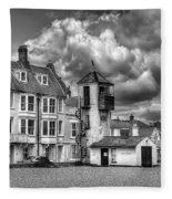 South Lookout Tower Aldeburgh Black And White Fleece Blanket
