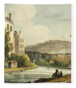 South Parade From Bath Illustrated Fleece Blanket