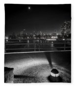South Pond With Chicago Skyline Fleece Blanket