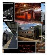 South Shore Line Railroad Collage Fleece Blanket
