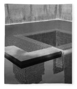 South Tower Pool In Black And White Fleece Blanket