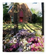 Southern Church In Bloom Fleece Blanket