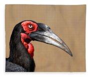 Southern Ground Hornbill Portrait Side View Fleece Blanket