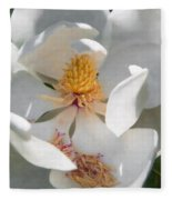 Southern Magnolia Blossom Fleece Blanket