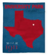 Southern Methodist University Mustangs Dallas Texas College Town State Map Poster Series No 098 Fleece Blanket