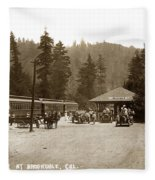 Southern Pacific Depot At Brookdale Santa Cruz Co. Cal. Circa 1910 Fleece Blanket