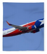 Southwest Boeing 737-3h4 N352sw Lone Star One Taking Off Phoenix Sky Harbor March 6 2015  Fleece Blanket