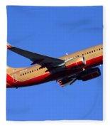 Southwest Boeing 737-7h4 N792sw Phoenix Sky Harbor December 22 2014  Fleece Blanket