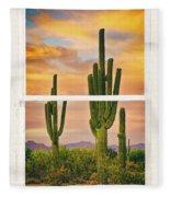 Southwest Desert Sunset White Rustic Distressed Window Art Fleece Blanket
