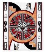 Southwest Collection - Design Six In Red Fleece Blanket