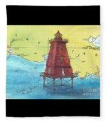 Southwest Reef Lighthouse La Nautical Chart Map Art Cathy Peek Fleece Blanket