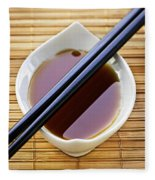 Soy Sauce With Chopsticks Fleece Blanket