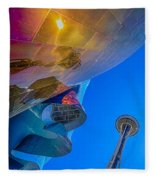 Space Needle And Emp In Perspective Hdr Fleece Blanket