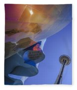 Space Needle And Emp In Perspective Non Hdr Fleece Blanket