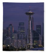 Space Needle At Twilight Fleece Blanket