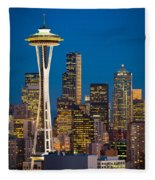 Space Needle Evening Fleece Blanket