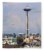Space Needle Seattle Fleece Blanket