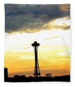 Space Needle Sunset Sillouette Fleece Blanket