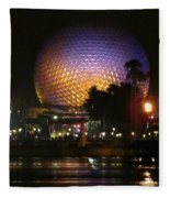 Spaceship Earth At Night Fleece Blanket