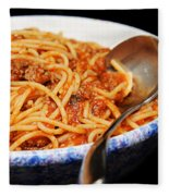 Spaghetti And Meat Sauce With Spoon Fleece Blanket