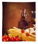 Spaghetti Pasta With Tomatoes And Garlic Fleece Blanket