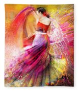 Spain - Flamencoscape 12 Fleece Blanket