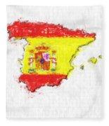 Spain Painted Flag Map Fleece Blanket