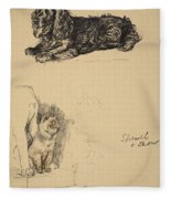 Spaniel And Chow, 1930, Illustrations Fleece Blanket