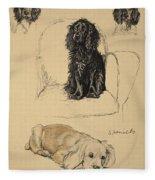 Spaniels, 1930, Illustrations Fleece Blanket