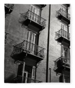 Spanish Balconies - Black And White Fleece Blanket