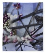Sparrow And The Beauty Berry Fleece Blanket