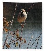 Sparrow On A Twig Fleece Blanket