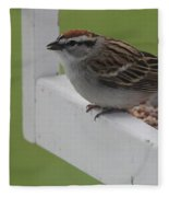 Sparrow On Feeder Fleece Blanket