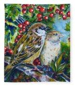 Sparrows On The Hawthorn Fleece Blanket